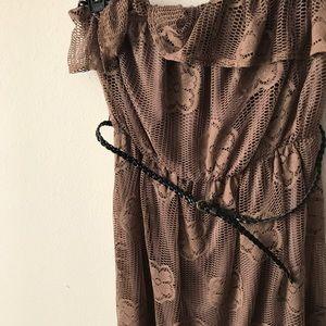 Brown ruffled tube top dress with belt. TORRID
