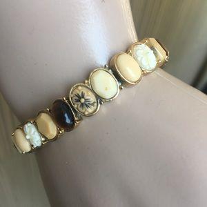 Vintage multi stone stretch bracelet