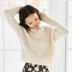 Urban Outfitters Lace Trim Cropped Sweater
