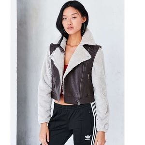 BDG Faux Leather Sherpa Lined Moto Jacket