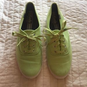 Lime Green Keds canvas lace up Sneakers