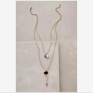 Anthropologie Double Drop Amethyst Necklace New