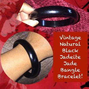 Vintage Natural Black Jadeite Jade Bangle Bracelet