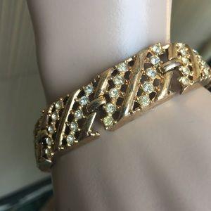 Vintage gold rhinestone bracelet