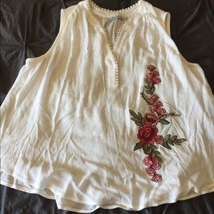 Flowy embroidered tank