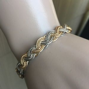 Vintage gold and silver braided wire bracelet