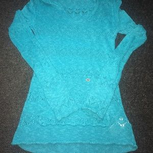 Roxy blue crocheted pull over sweater