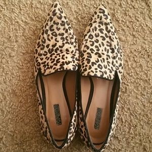 Topshop Calfskin Leopard Print Loafers size 8.5 39