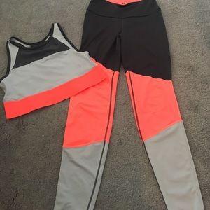 H&m neon orange and grey leggings with bra