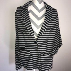 {XXL} Black & Gray Striped Merona Stretch Blazer