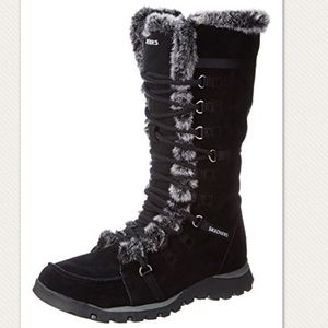 Skechers Grand Jams Black Suede Fur Lined Boots