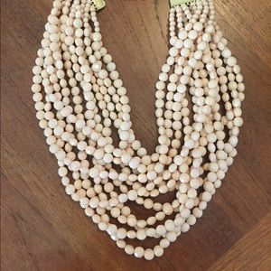 Anthropologie statement blush beaded necklace