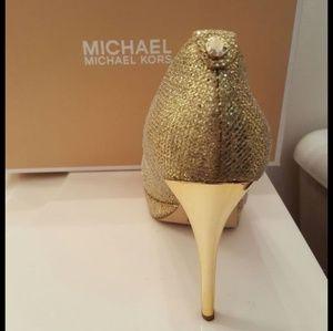 Michael kors gold glitter heels