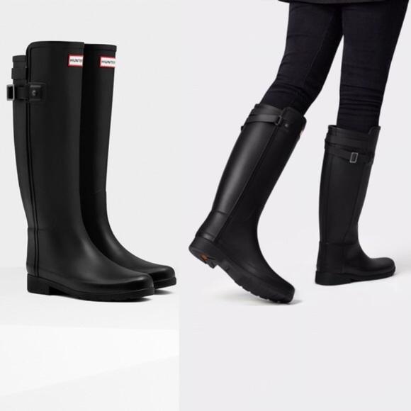 8c4a51079fe Hunter // Refined Tall Matte Black Boots