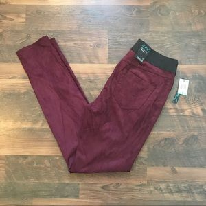Wine Faux Suede Pants NWT Size 8