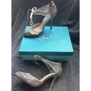 Betsy Johnson Champagne Stela Glitter Heels