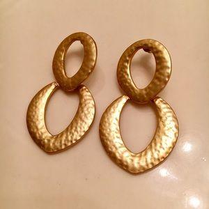 Vintage Kenneth Lane Hammered Gold Earrings