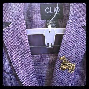 Great purple grey pantsuit bonus vintage brooch