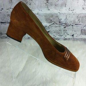 Bally Switzerland Pandar rust suede pumps heels