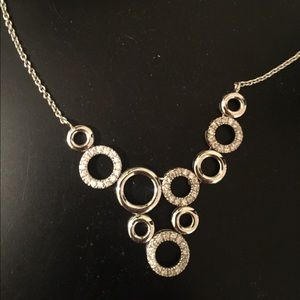 Sterling Silver Necklace with Rhinestones
