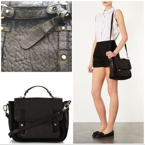 Topshop Black Suede and Leather Satchel Purse