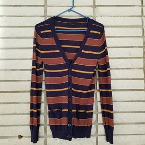 L blue orange and yellow cardigan