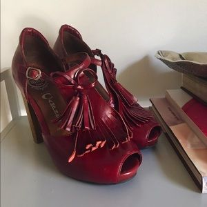 Jeffrey Campbell Red Leather Chunky Heels