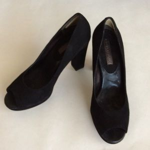 Black suede peep toe heels by Banana Republic