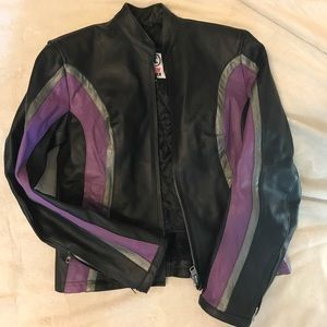 Authentic leather ladies motorcycle jacket