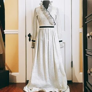 Vintage Mollie Parnis black and white 1960s maxi
