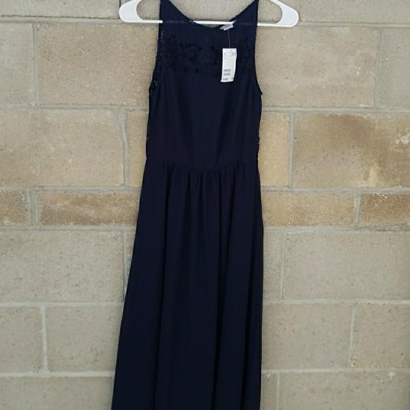 68f417bfb28d H&M Dresses | Nwt Navy Blue Lace Back Hm Maxi Dress Size 4 | Poshmark