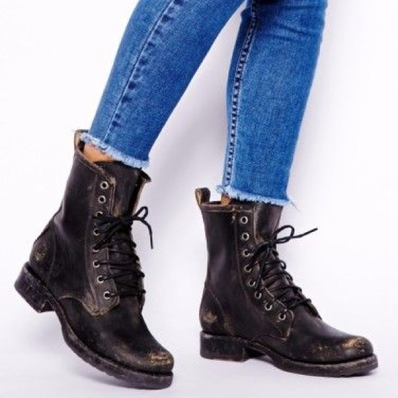 bceec26e2 Frye Shoes | Veronica Combat Boot In Stonewash | Poshmark