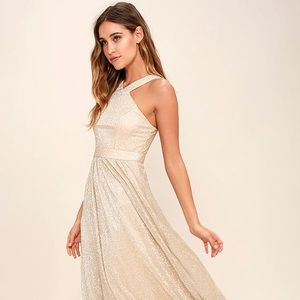Lulus Always Moving Gold Maxi Dress