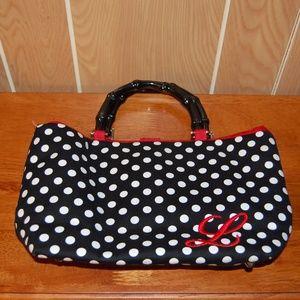 Handbags - Cute Black & White Polka Dots with Red L Purse