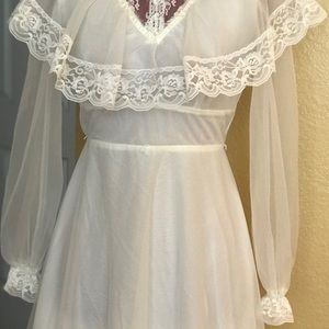 1970's Wedding Dress, Organdy and lace.