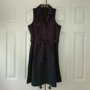 The Limited Navy Blue Sleeveless Button Dress