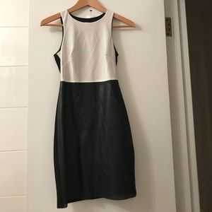 Black and white faux leather dress