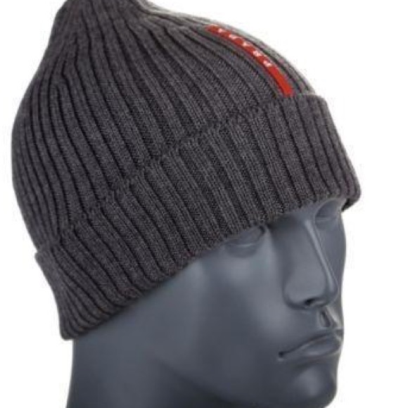 Prada Ribbed Knit Beanie Hat Grey. M 59c809b078b31cc73d033890 9064d4008
