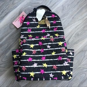 Betsey Johnson quilted star backpack w charm  NWT