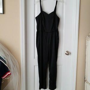 Vintage 1980's black poly jumpsuit