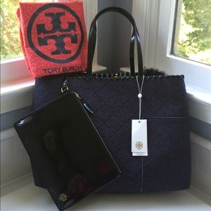 Tory Burch T Block Quilted Felt True Navy Tote Bag