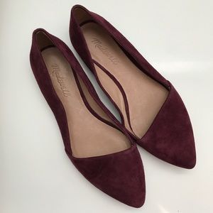 Madewell Mira Burgundy Suede Leather Flat Shoe 7