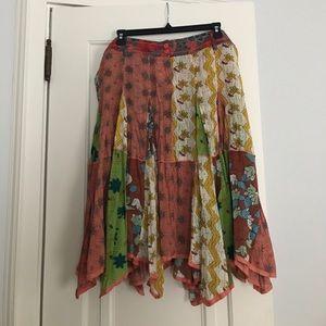 Anthropologie Lux Below Knee Floral Skirt