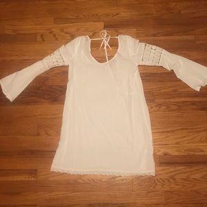 Boho white longsleeve dress