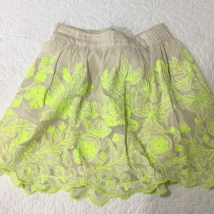 Anthropologie mini skirt neon green trim sz0