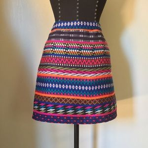 Topshop Embroidered Aztec Print Mini Skirt