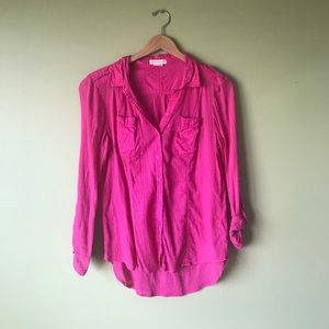 Pink Button-down Anthropologie Blouse