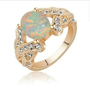 Jewelry - Gold Ring with Stunning White Fire Opal