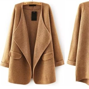 Jackets & Blazers - Khaki Lapel Sweater Coat
