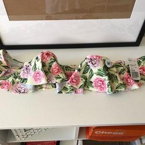 NWT off the shoulder floral bikini top